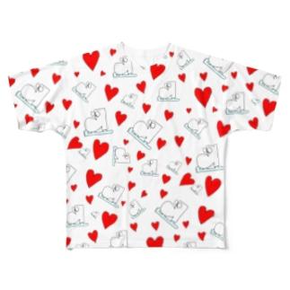 総柄のハート あか Full graphic T-shirts