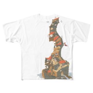 積み木の建物 Full graphic T-shirts