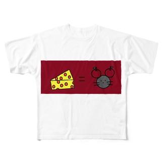 チーズイコールネズミ Full graphic T-shirts