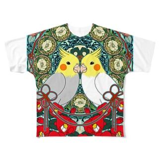 オカメインコ椿【まめるりはことり】 Full graphic T-shirts