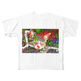 ネコ[ゆめかわいい] Full graphic T-shirts