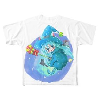 魔法少女ゆるmiku with 使い魔にゃんズ Full graphic T-shirts