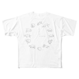 ねこどけい Full graphic T-shirts