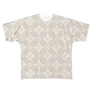 大島紬龍郷柄風白紬デザイン Full graphic T-shirts