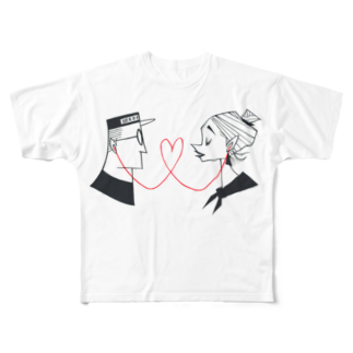 Seto HiroakiのLoveLine Full graphic T-shirts