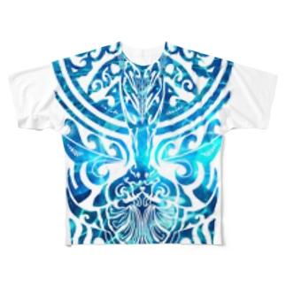 クジラのトライバル Full graphic T-shirts