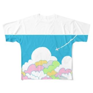入道雲とひこうき Full graphic T-shirts