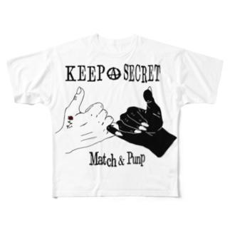 マッチアンドポンプ舎 suzuri支店のsecret handshake Full graphic T-shirts