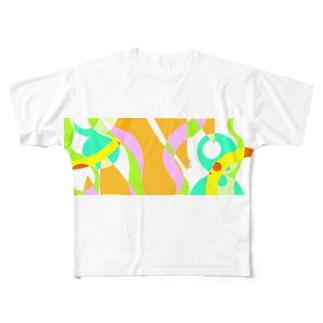 うさぎのいる洞窟 Full graphic T-shirts