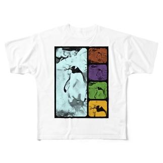ペンギン[ダブル‐トーン(double tone)] Full graphic T-shirts