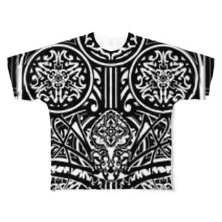 鵺 門 トライバル Full graphic T-shirts