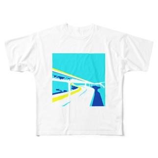夏のハイウェイ Full graphic T-shirts