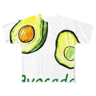 水彩おしゃれなアボカド Full graphic T-shirts