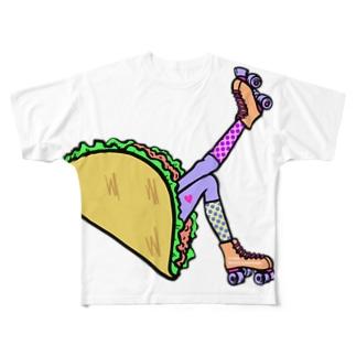 タコス ローラースケート ガール  TACOS ROLLER GIRL DOT 水玉 ドット Tacos Rollerskate Rainbow Full graphic T-shirts