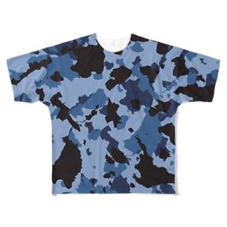 琉球迷彩Tシャツ ネイビー Full graphic T-shirts