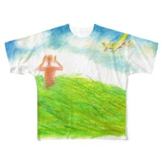 みみなTシャツ つよい風がふいてき Full graphic T-shirts