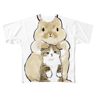 ちっこいねこ Full graphic T-shirts