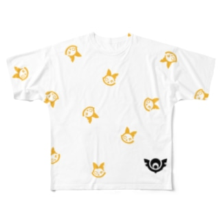ちらばるロゴマーク(猫多め) Full graphic T-shirts