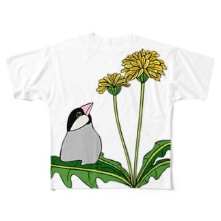 prunelleの文鳥とタンポポ Full Graphic T-Shirt