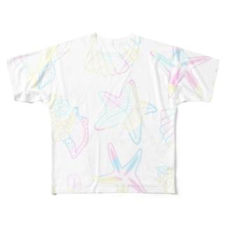 shells (パステルオーロラ) Full graphic T-shirts
