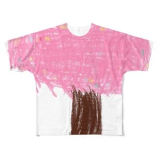 かくれんぼ うしろからひょい Full graphic T-shirts