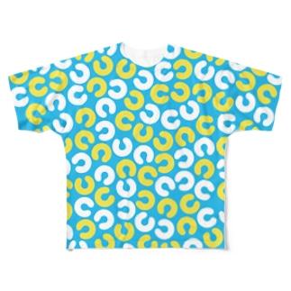 ノウト全面ロゴ(ブルー) Full graphic T-shirts