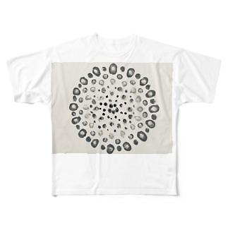 モノクロ花火 Full graphic T-shirts