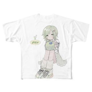 メロンおいしいよ🍈 Full graphic T-shirts