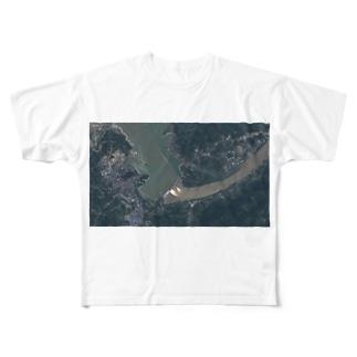 未来明察の三峡ダム放水の図 Full graphic T-shirts