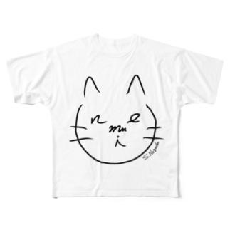 nemui ねむいねこ Full graphic T-shirts
