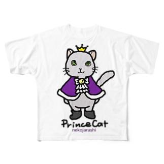 ねこの王子様*紫 Full graphic T-shirts