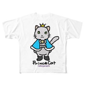 ねこの王子様*ブルー Full graphic T-shirts