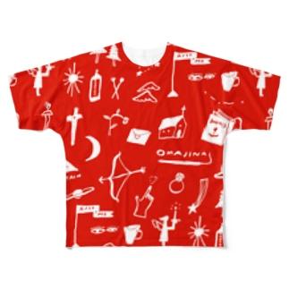 赤色のおまじない Full graphic T-shirts
