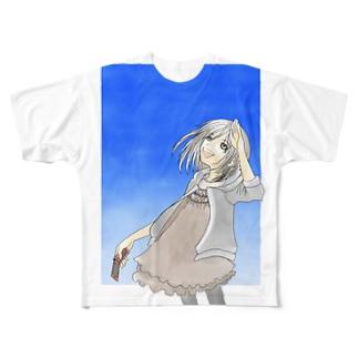見上げた先は深い蒼 Full graphic T-shirts