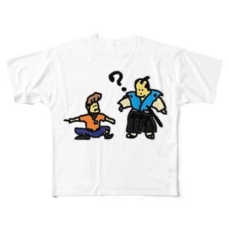 タイムトラベル お侍とヤンキー Full graphic T-shirts