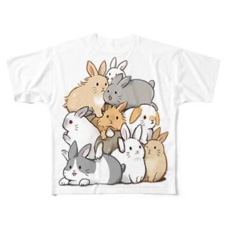 蜜すぎるうさぎたち Full graphic T-shirts