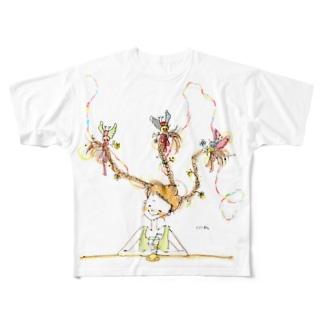 踊る三つ編みちゃん Full graphic T-shirts