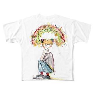 ツインテールに虹掛け Full graphic T-shirts