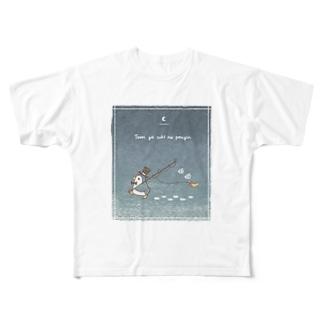 釣りが好きなペンギン(夜) Full graphic T-shirts