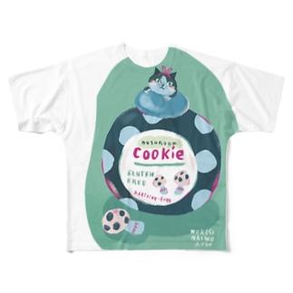 カフェ猫クッキーポット Full graphic T-shirts