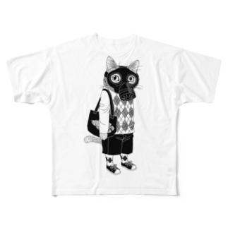 ガスマスクを付けた猫 Full graphic T-shirts