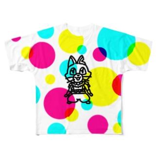 CMYKキャットC Full graphic T-shirts