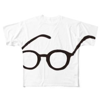 めがね。シンプル Full graphic T-shirts