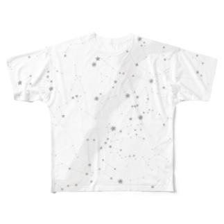 星座の落書き 茶色 Full graphic T-shirts