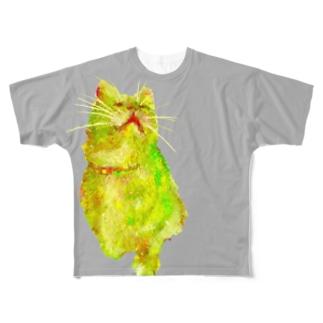 猫と飼い主 Full graphic T-shirts