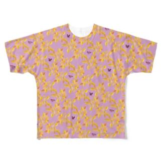 mint & bear - yellow & purple Full graphic T-shirts
