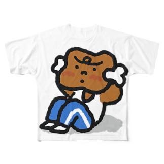腹筋するマンガ肉(カラフル) Full graphic T-shirts