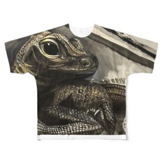 tashiroriekoホカケトカゲ Full graphic T-shirts
