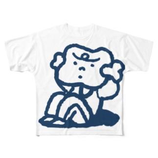 腹筋するマンガ肉(シンプル) Full graphic T-shirts