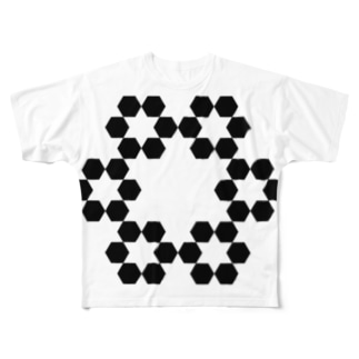 Fractal Cantor Snowflake Full graphic T-shirts